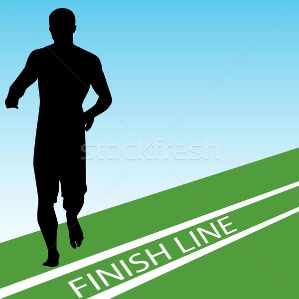 Célszalag kép futó zöld kék sziluett Stock fotó © cteconsulting