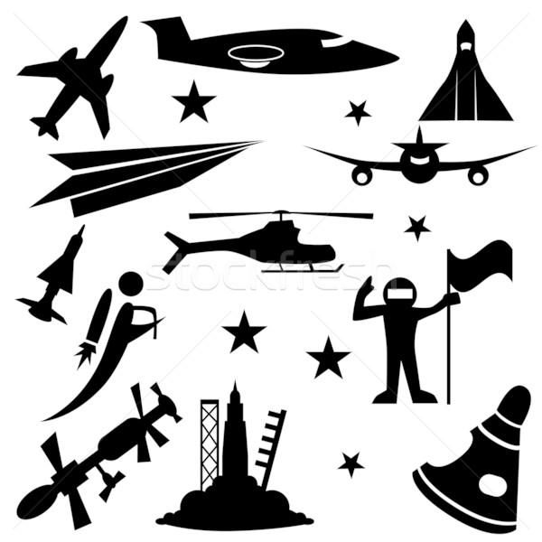 Légtér ikon gyűjtemény izolált fehér papír férfi Stock fotó © cteconsulting