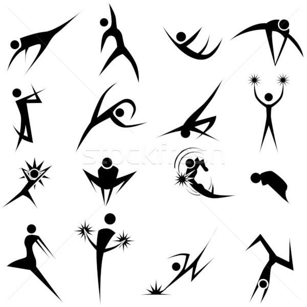 Dynamisch pose ingesteld geïsoleerd witte groep Stockfoto © cteconsulting
