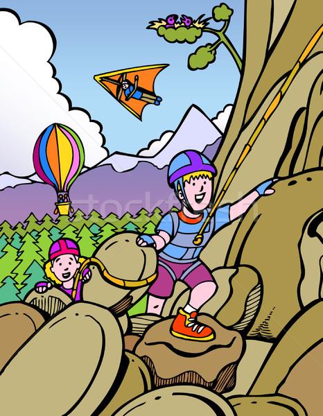ストックフォト: 子供 · 岩クライミング · 2 · 登山 · 山 · ギア