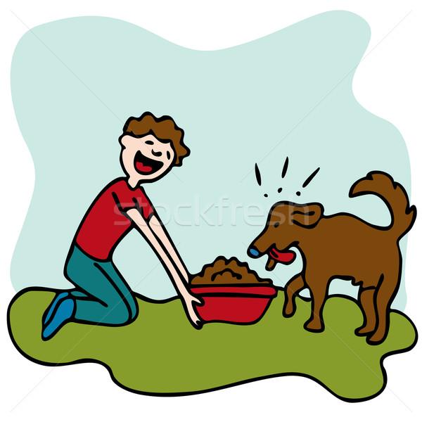 Mann Ernährung Hundefutter Bild Hund Essen Stock foto © cteconsulting