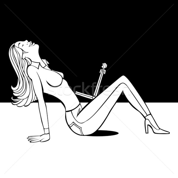 Webcam Girl Line Art Stock photo © cteconsulting