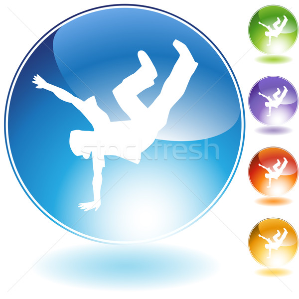 Breaktáncos rúgás kristály ikon izolált fehér Stock fotó © cteconsulting