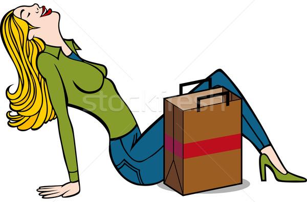 Feliz sesión piso bolsa de la compra aislado Foto stock © cteconsulting