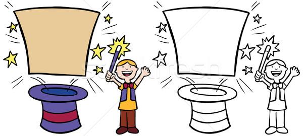 Criança truque de mágica desenho animado imagem mágico bandeira Foto stock © cteconsulting