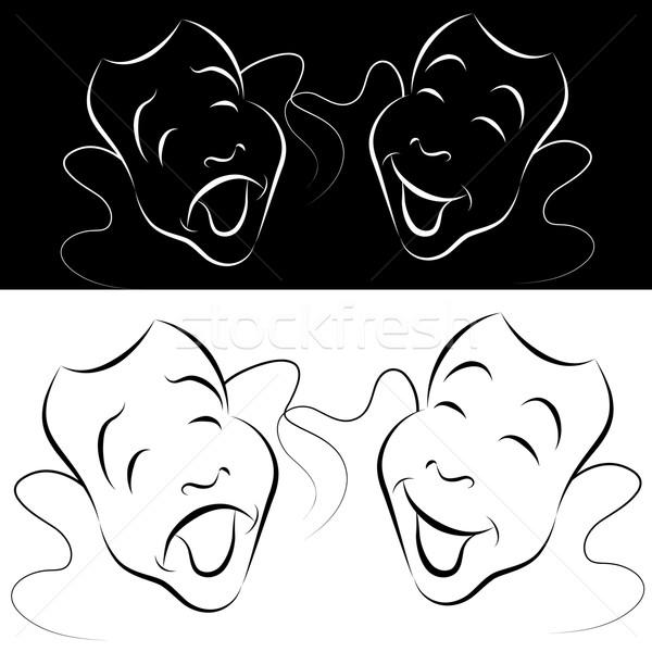 Drama masker lijn kunst ingesteld afbeelding Stockfoto © cteconsulting
