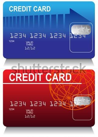 Kredi kartları görüntü ayarlamak dünya mavi kırmızı Stok fotoğraf © cteconsulting