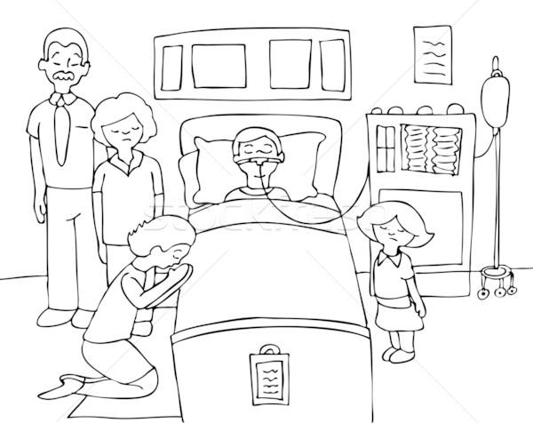 Malati bambino letto di ospedale famiglia pregando guarigione Foto d'archivio © cteconsulting