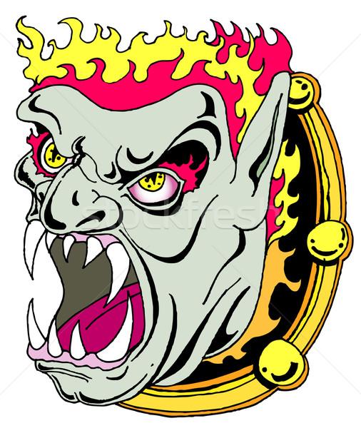 демон зеркало из огня лице искусства Сток-фото © cteconsulting