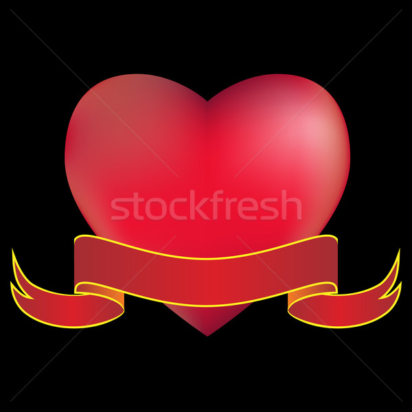 Stock photo: 3D Heart with Banner