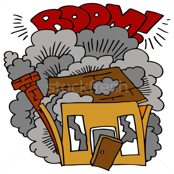 Ev yıkım görüntü inşaat patlama çizim Stok fotoğraf © cteconsulting