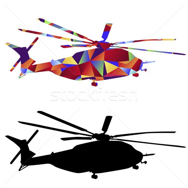 çokgen askeri helikopter ikon görüntü stil Stok fotoğraf © cteconsulting