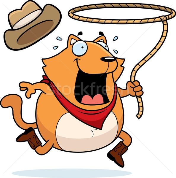 猫 ロデオ 幸せ 漫画 を実行して カウボーイ ストックフォト © cthoman