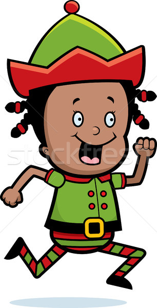 Christmas elf lopen gelukkig cartoon glimlachend Stockfoto © cthoman