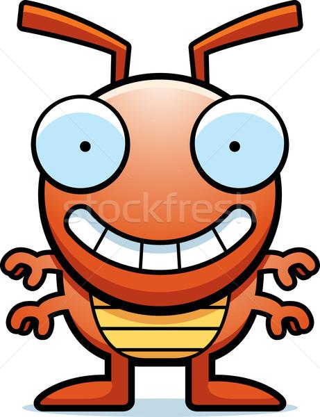 Cartoon bug peu orange permanent souriant Photo stock © cthoman