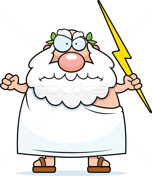 Zły grecki boga cartoon pogoda Zdjęcia stock © cthoman
