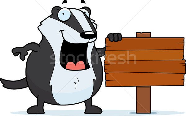 Cartoon Badger Sign Stock photo © cthoman