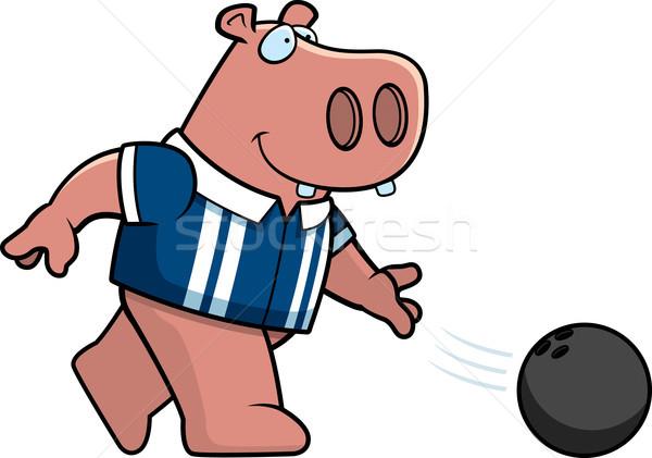 Cartoon Hippo Bowling Stock photo © cthoman