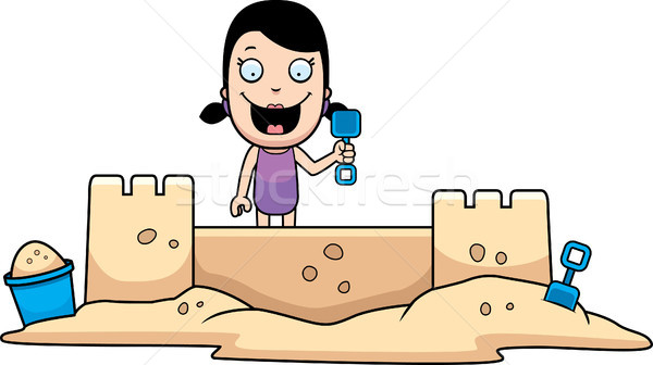 Fille sandcastle cartoon illustration bâtiment enfants Photo stock © cthoman