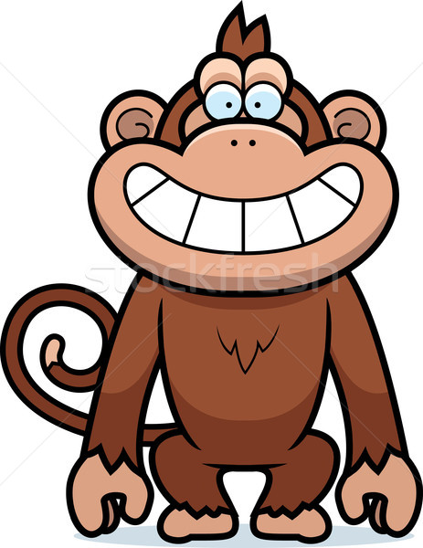 Rajz majom vigyor illusztráció vigyorog mosolyog Stock fotó © cthoman