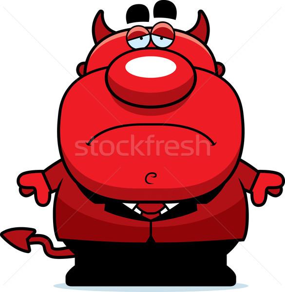 печально Cartoon дьявол иллюстрация человека красный Сток-фото © cthoman