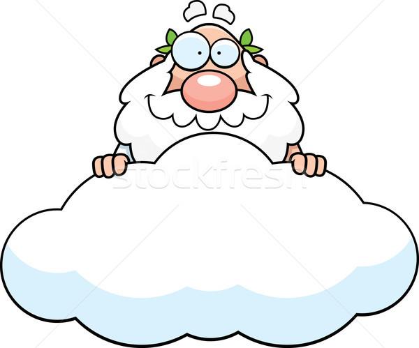 Desenho animado deus nuvem ilustração grego homem Foto stock © cthoman