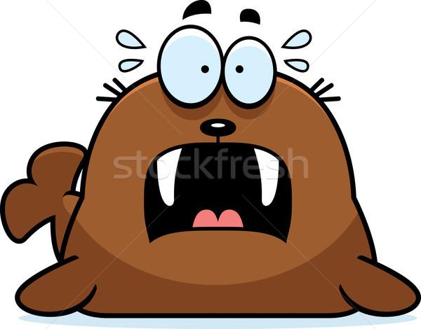 Paura cartoon tricheco illustrazione guardando urlando Foto d'archivio © cthoman