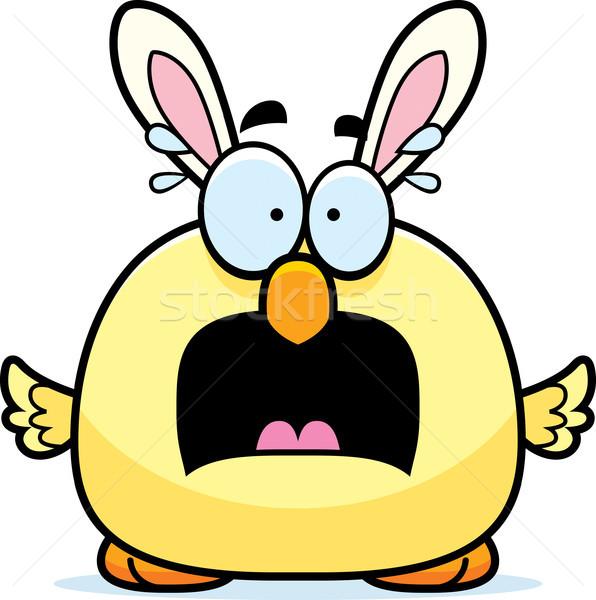 Assustado desenho animado coelhinho da páscoa pintinho ilustração olhando Foto stock © cthoman