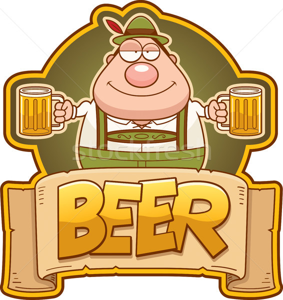Cartoon Oktoberfest Man Beer Label Stock photo © cthoman