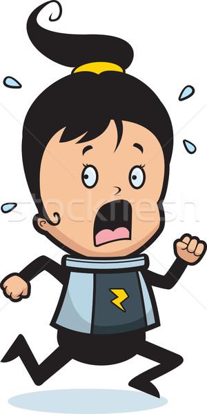 Astronauta panico cartoon bambino esecuzione spazio Foto d'archivio © cthoman