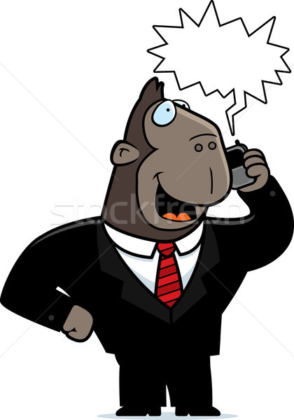 Ape téléphone cartoon costume parler téléphone portable Photo stock © cthoman
