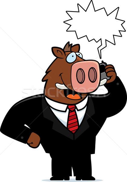 кабан телефон Cartoon костюм говорить сотового телефона Сток-фото © cthoman
