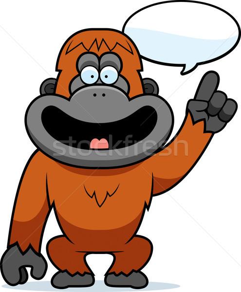 Karikatür orangutan konuşma örnek mutlu düşünme Stok fotoğraf © cthoman