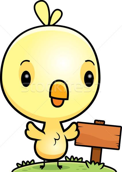 Cartoon ребенка куриного древесины знак иллюстрация Сток-фото © cthoman