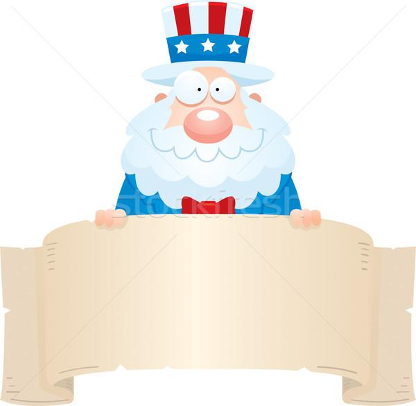 Cartoon oom banner illustratie man Stockfoto © cthoman