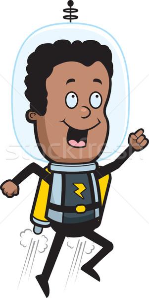 Foto stock: Astronauta · jato · empacotar · feliz · desenho · animado · criança