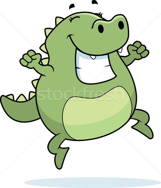 Jaszczurka skoki szczęśliwy cartoon uśmiechnięty sukces Zdjęcia stock © cthoman
