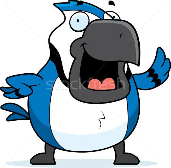Cartoon Blue Jay Waving Stock photo © cthoman