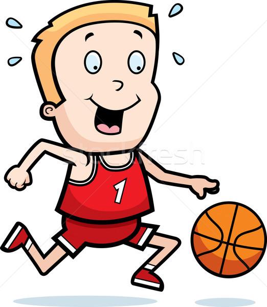 Stockfoto: Kind · spelen · basketbal · cartoon · illustratie · kinderen