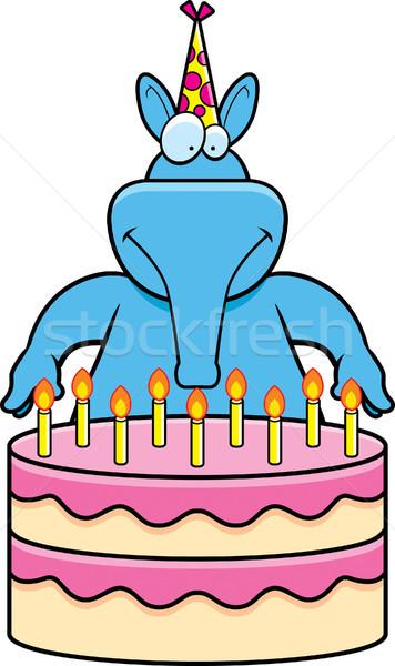 Rajz születésnap illusztráció születésnapi torta kék kalap Stock fotó © cthoman