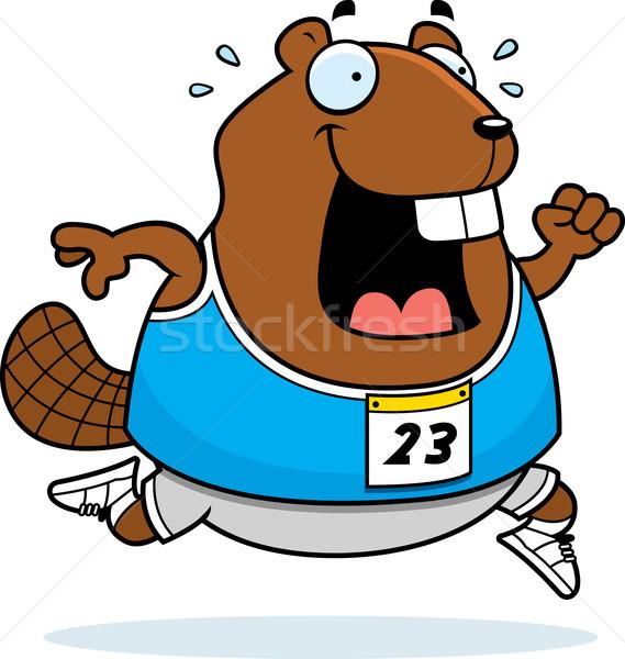 Stock photo: Cartoon Beaver Running Race