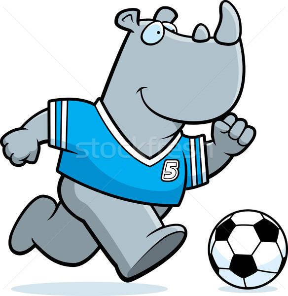 Desenho animado rinoceronte futebol ilustração rinoceronte jogar Foto stock © cthoman
