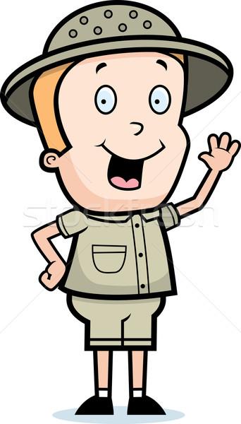 Ontdekkingsreiziger gelukkig cartoon kind glimlachend Stockfoto © cthoman