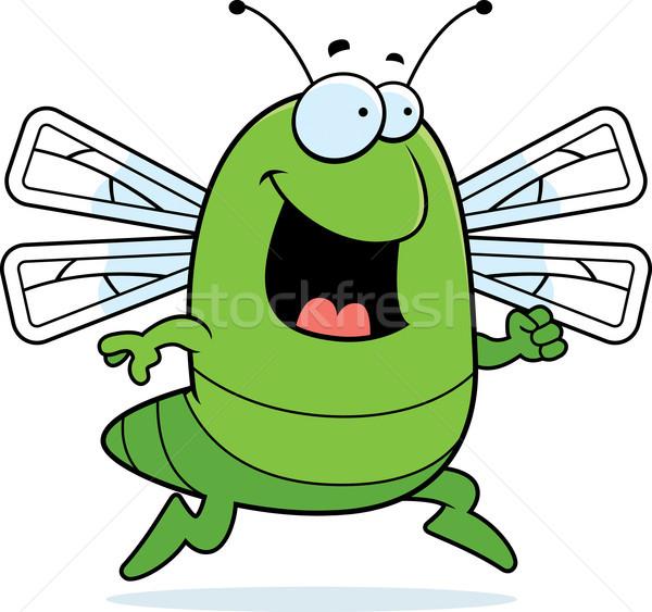 蜻蜓 運行 快樂 漫畫 微笑 綠色 商業照片 © cthoman