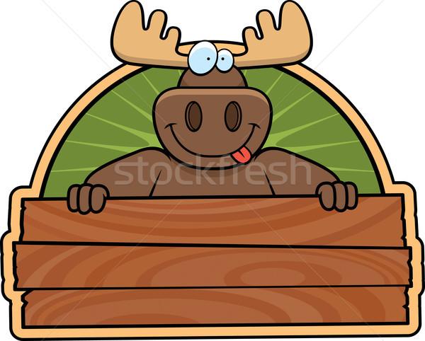 Alce assinar feliz desenho animado madeira Foto stock © cthoman