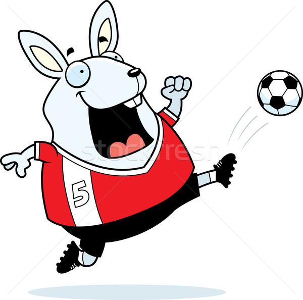 Rajz nyúl futball rúgás illusztráció rúg Stock fotó © cthoman