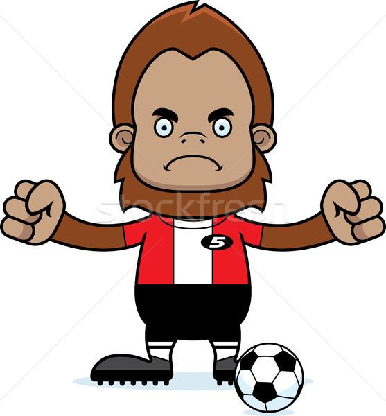 Cartoon zły piłkarz patrząc piłka nożna sportowe Zdjęcia stock © cthoman