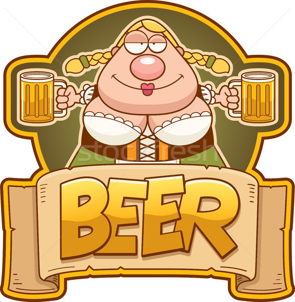 Cartoon oktoberfest vrouw bier label illustratie Stockfoto © cthoman