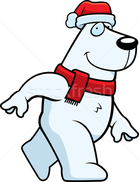 Desenho animado natal urso polar ilustração seis cachecol Foto stock © cthoman