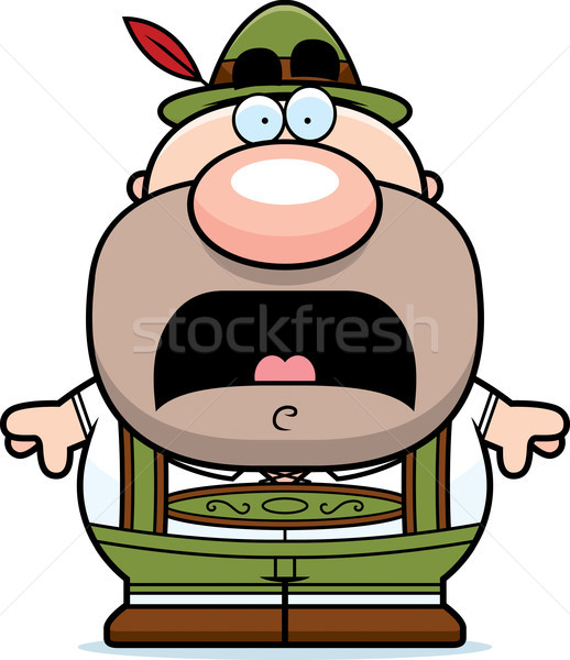 Cartoon Lederhosen Man Scared Stock photo © cthoman
